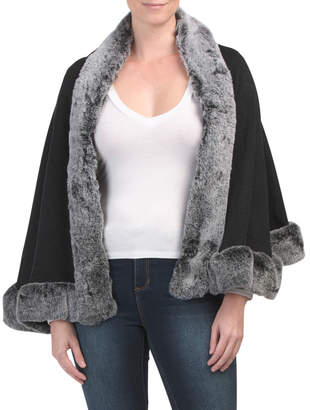 Solid Knit Ruana With Faux Fur Trim