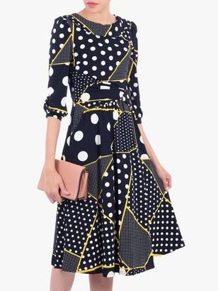 Jolie Moi Roll Collar Polka Dot Shift Dress, Black/Multi