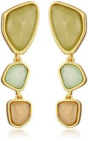 "T Tahari Pastel Edge"" Green Melange and Gold Three Stone Drop Earrings"