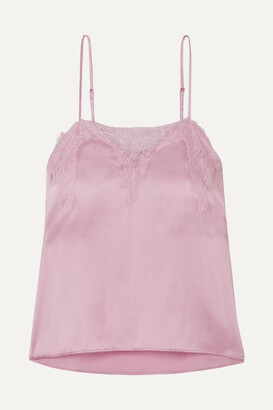 CAMI NYC The Sweetheart Lace-trimmed Silk-charmeuse Camisole - Pink