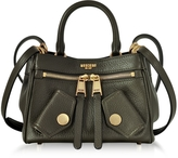 Moschino Olive Green Grained Leather Mini Shoulder Bag