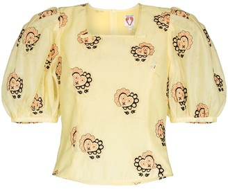 Shrimps Heart-Embroidered Blouse