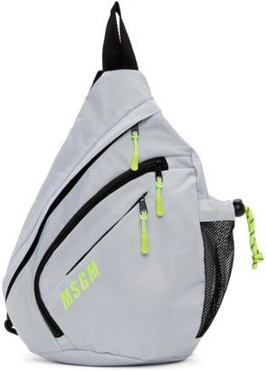 MSGM Grey Logo Monostrap Backpack