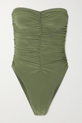 Norma Kamali Marissa Ruched Bandeau Swimsuit - Green