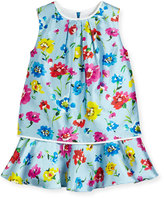 Oscar de la Renta Sleeveless Scattered Flower Mikado Flounce Dress, Multicolor, Size 4-14