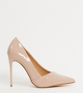 Truffle Collection wide fit pointed stiletto heels in beige