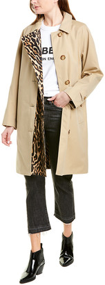 Burberry Leopard-Print Trim Trench Coat