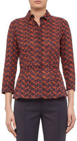 Akris Punto 3/4-Sleeve Oval-Print Blouse, Navy/Rust
