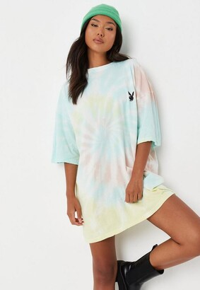Missguided Playboy X Pastel Tie Dye Oversized T Shirt Dress