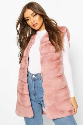 boohoo Longline Faux Fur Gilet