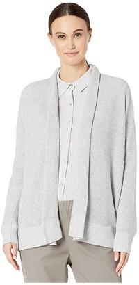 Eileen Fisher Peruvian Organic Cotton Kimono Cardigan (Dark Pearl/White) Women's Clothing
