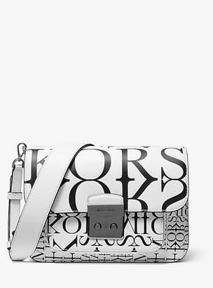 MICHAEL Michael Kors Sloan Editor Newsprint Logo Leather Shoulder Bag