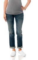 Motherhood Indigo Blue Secret Fit Belly Roll Hem Straight Leg Maternity Jeans