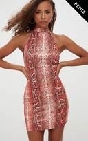 PrettyLittleThing Petite Orange Snake Print High Neck Bodycon Dress