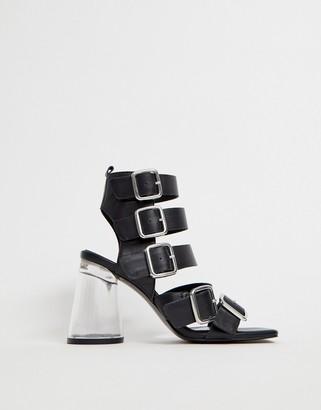 clear Asos Design ASOS DESIGN Hunted leather strappy block heeled sandals-Black