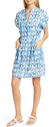Emporio Armani Brushstroke Print Techno Crepe Dress