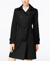 Calvin Klein Petite Double-Breasted Belted Trench Coat, Only at Macy's