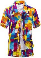 Pishon Men's Hawaiian Shirt Summer Regular Fit Short Sleeve Button Up Beach Shirt