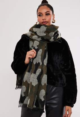 Missguided Green Camouflage Scarf