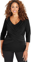 NY Collection Plus Size B-Slim Three-Quarter-Sleeve Top