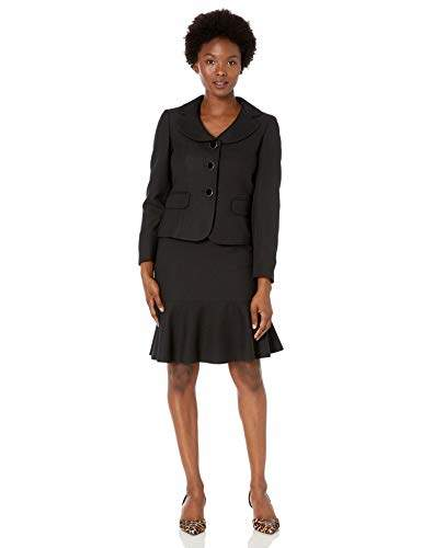 Le Suit Women's Petite Diamond Jacquard 3 Button Notch Collar Skirt Suit