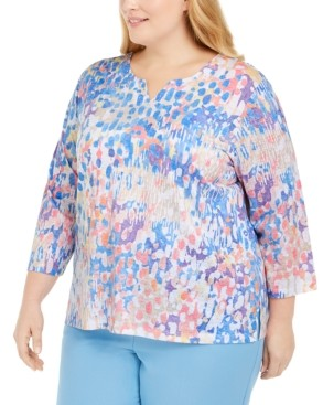 Alfred Dunner Plus Size Split-Neck Top