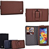 Cellphone holder with belt loop holster- card slots inserts- Cafe Brown : Universal fit for LG Prada 3.0