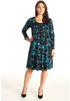 Karen Kane Plus Plus Size Flare Sleeve A-Line Dress