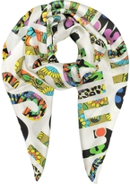 Moschino White & Multicolor Print Twill Silk Square Scarf