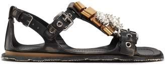 Miu Miu Embellished Buckled Leather Sandals