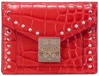 MCM Patricia Croc Embossed Card Wallet
