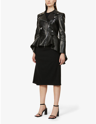 Alexander McQueen Flared-hem leather jacket