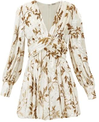 Dodo Bar Or Anatalya Floral-devore Velvet Dress - Cream