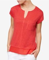 Sanctuary Split-Neck Layered-Look T-Shirt
