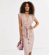 Asos Tall DESIGN Tall obi belt button through sleeveless midi dress