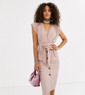 Asos Tall DESIGN Tall obi belt button through sleeveless midi dress-Pink