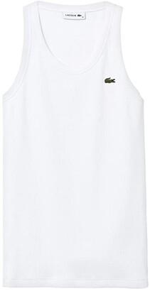 Lacoste 1X1 Rib Tank Top (White) Women's Clothing