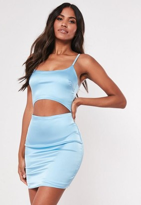 Missguided Blue Stretch Satin Cut Out Bodycon Mini Dress