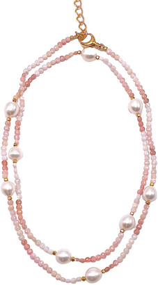 "Dina Mackney Pink Opal and Pearl Necklace, 36""L"
