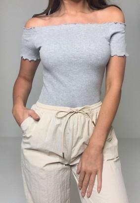 Missguided Grey And Black Lettuce Hem Bardot Bodysuits 2 Pack