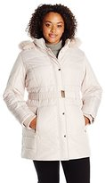 Details Women's Plus Size Belted Puffer Coat with Faux Fur Trimmed Hood