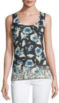 Neiman Marcus Superfine Poppy Silk-Blend Tank
