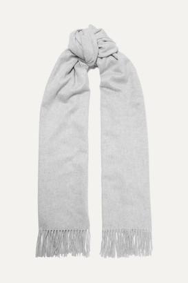 Johnstons of Elgin Fringed Cashmere Stole - Light gray
