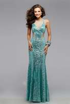 Faviana 7331 Mermaid Prom Dress with Sequins and Sheer Cut-Outs