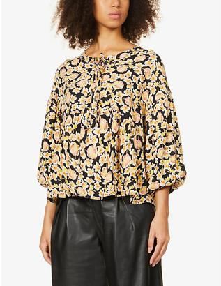 Free People Highlander floral-print linen-blend blouse