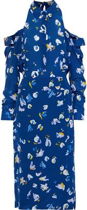 Altuzarra Chiara Cold-shoulder Printed Silk-georgette Midi Dress