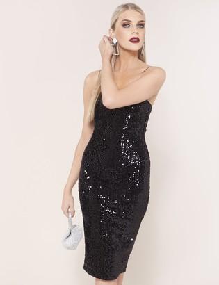 Public Desire Uk Square Neck Velvet Sequin Midi Dress