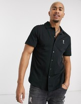 Religion revere collar jersey shirt in black