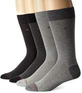 Tommy Hilfiger Men's 4 Pack Fine Bar Stripe Crew Sock