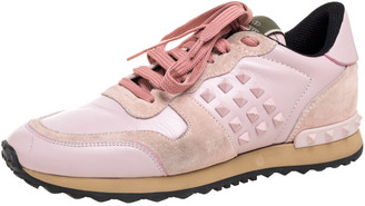 Valentino Pink Leather And Suede Rockstud Rockrunner Low Top Sneakers Size 38